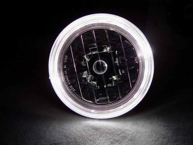 7 Round Projector Headlights Halo Ring 2x 7rnd Hlo Hdlt W