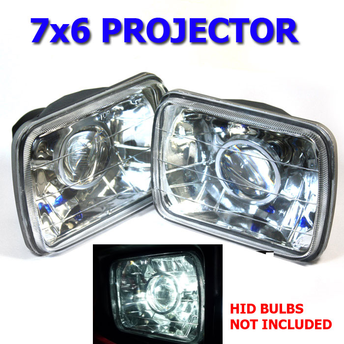 "7/"" CHROME PROJECTOR SEALED BEAM H6024 GLASS HEADLIGHT FOR PLYMOUTH FORD GMC"